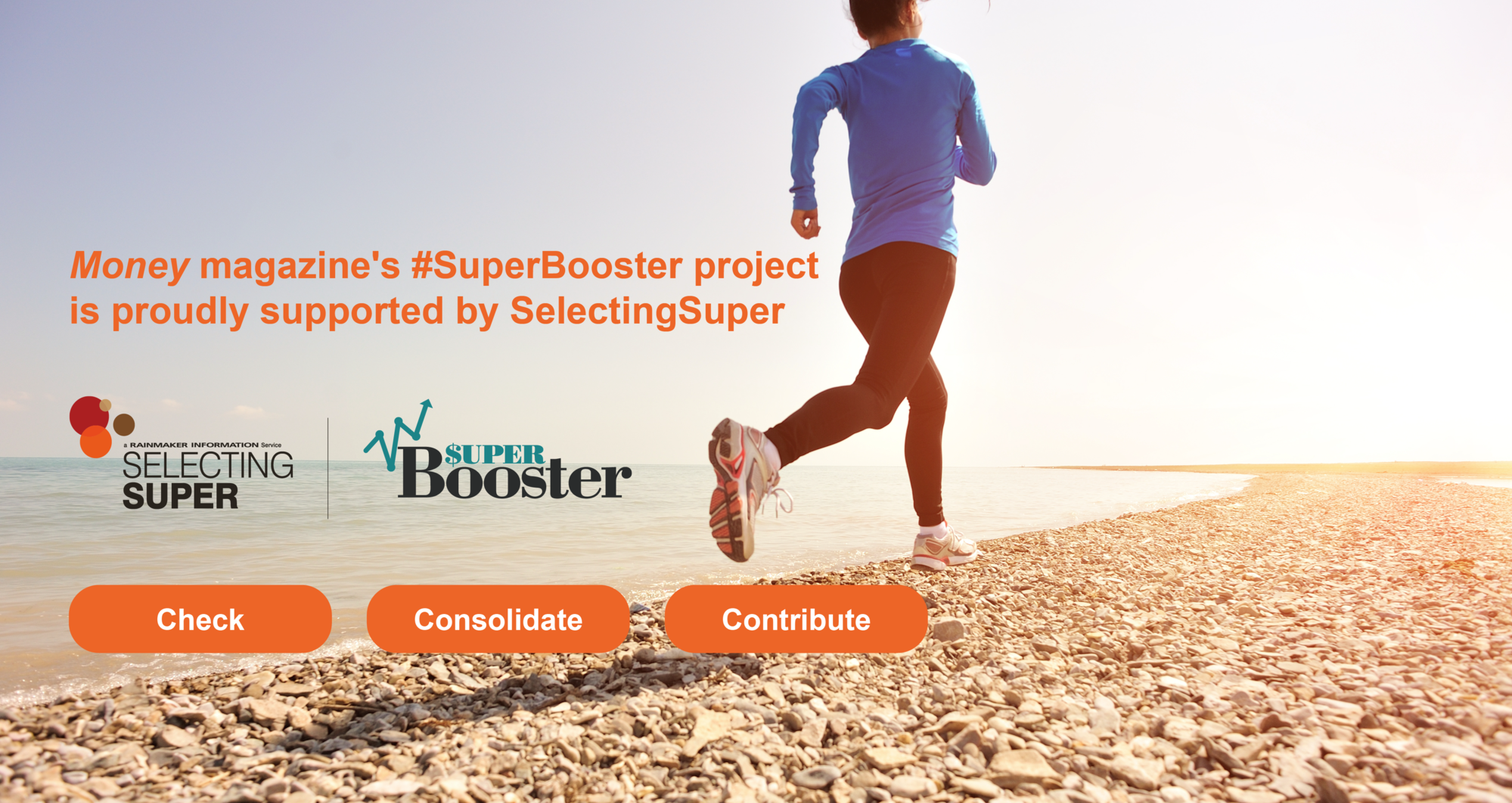 www.moneymag.com.au SuperBooster campaign. Lady running